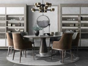 禅意圆形餐桌餐椅