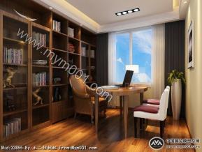 书房3D模型效果图
