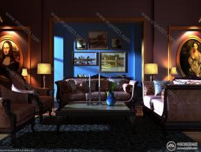 客厅空间夜景